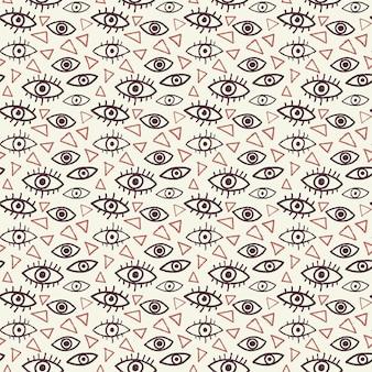 Ojos de patrones sin fisuras en estilo doodle