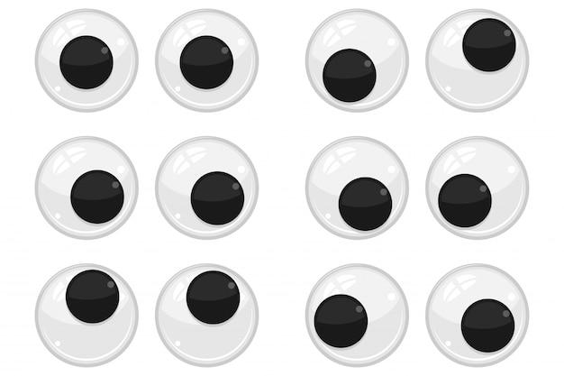 Ojos de plástico para juguetes, muñecas. conjunto de dibujos animados de globos oculares aislado sobre fondo blanco.