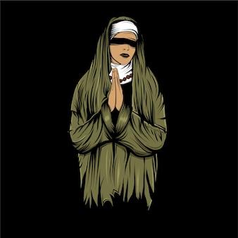 Con los ojos vendados monja dibujado a mano