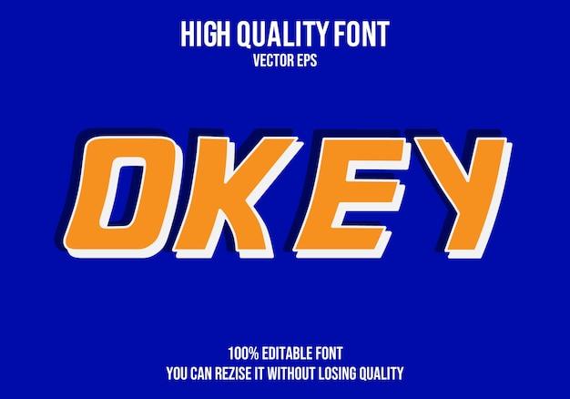 Okey vector font efecto de texto