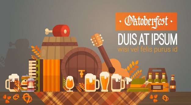 Oktoberfest beer festival banner barril de madera con decoración de tazas de vidrio