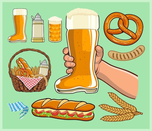 Oktoberfest, bota de cerveza, jarra de jarra de cerveza y una canasta de alimentos y bebidas.