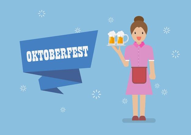 Oktoberfest con carácter de camarera que sirve vaso de cerveza