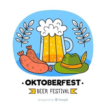 Oktoberfest dibujado a mano con cerveza de barril