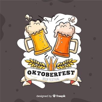 Oktoberfest dibujado a mano con cervezas