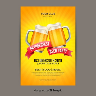 Oktoberfest de diseño plano con plantilla de póster de cervezas