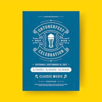 Oktoberfest flyer o póster tipografía retro plantilla diseño invitación cerveza festival celebración