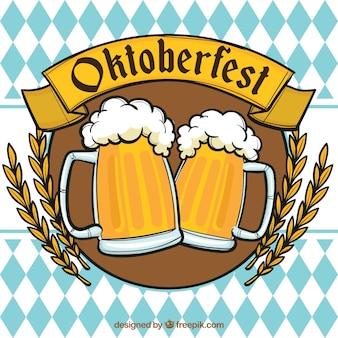 Oktoberfest, insignia con cervezas