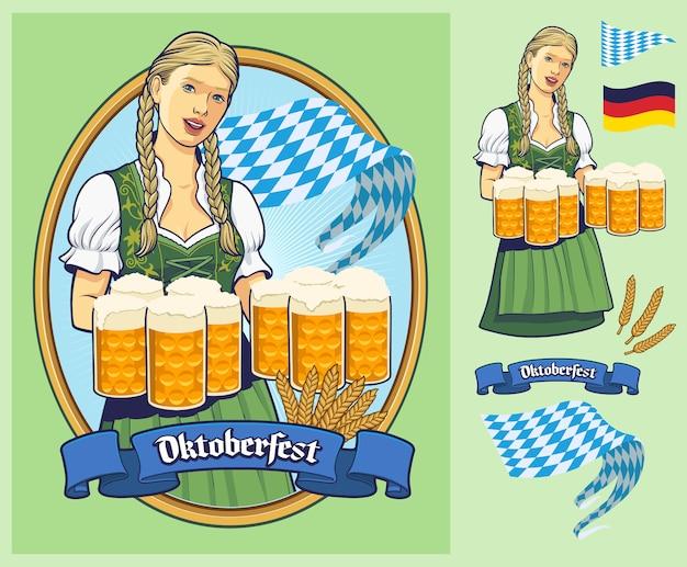 Oktoberfest, lady in dirndl sirviendo grandes cervezas.