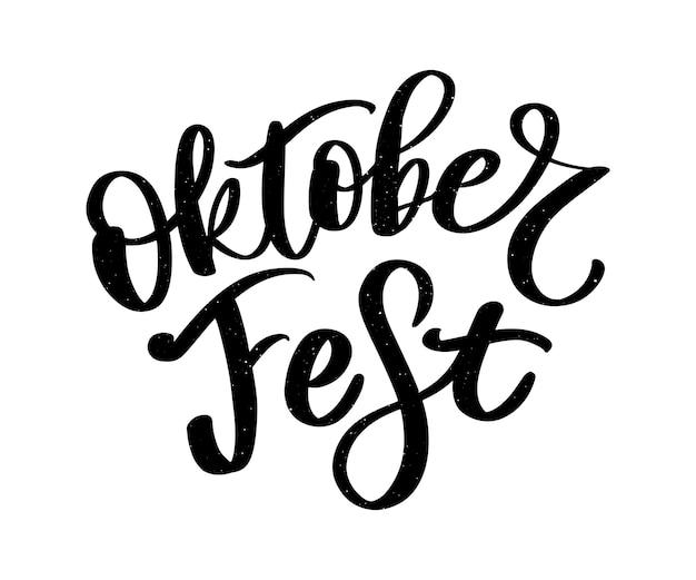 Oktoberfest letras escritas a mano. tipografía oktoberfest para tarjetas de felicitación y póster. festival de la cerveza vector banner. celebración de plantilla de diseño. ilustración vectorial