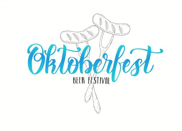 Oktoberfest letras hechas a mano con salchicha.