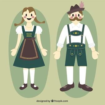 Oktoberfest mujer y el hombre