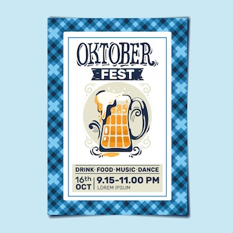 Oktoberfest party flyer o poster template design invitation for beer festival celebration