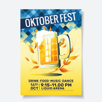 Oktoberfest party flyer o poster template design invitation for beer festival celebration