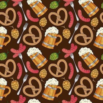 Oktoberfest de patrones sin fisuras a la parrilla salchicha hop taza de cerveza de madera pretzel