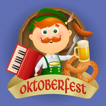 Oktoberfest personaje de hombre de dibujos animados en traje tradicional