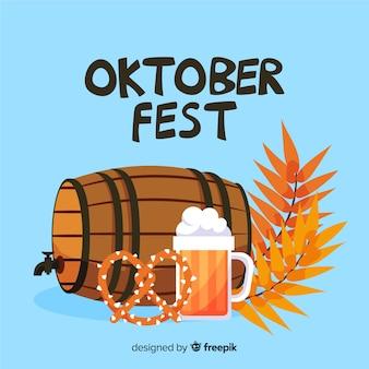 Oktoberfest plano con cerveza de barril