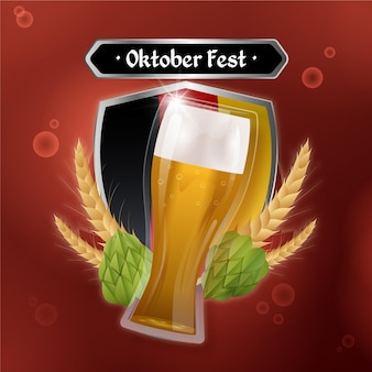 Oktoberfest realista con vaso de cerveza