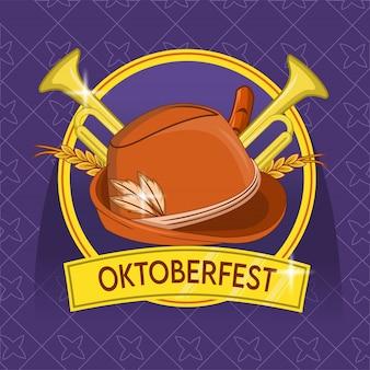 Oktoberfest con sombrero de alemania y trompeta