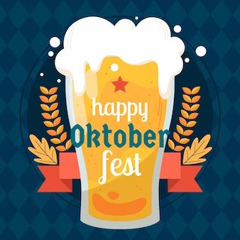 Oktoberfest con vaso de cerveza