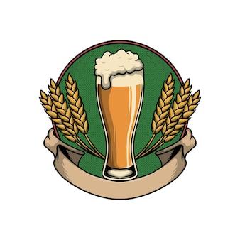 Oktoberfest con vasos de cerveza en la ilustración de vector de marco