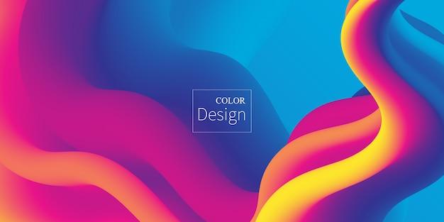 Ola. colores fluidos. forma líquida. salpicadura de tinta. nube colorida. ola de flujo. cartel moderno. fondo de color. .