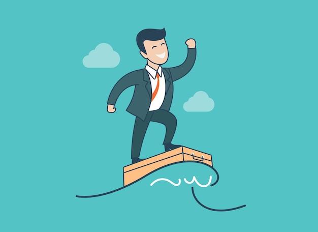 Ola de empresario feliz plano lineal surfeando en la ilustración de vector de maleta
