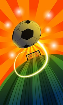 Ola de fútbol sobre fondo verde