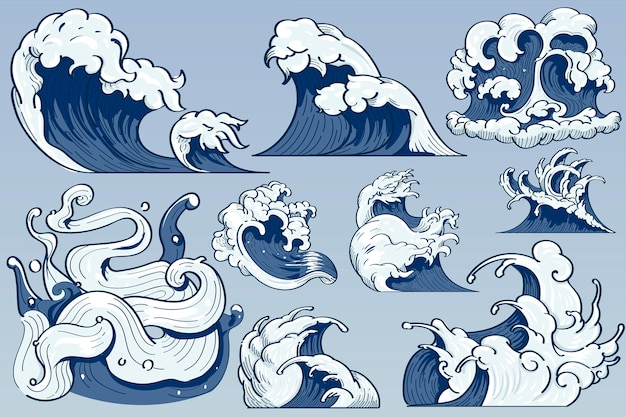 Ola japonesa doodle