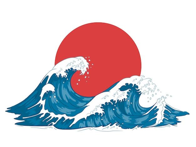 Ola japonesa grandes olas japonesas, océano furioso y agua de mar vintage ilustración