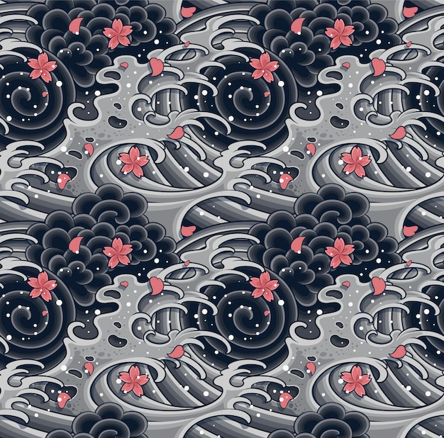 Ola japonesa con sakura de patrones sin fisuras.