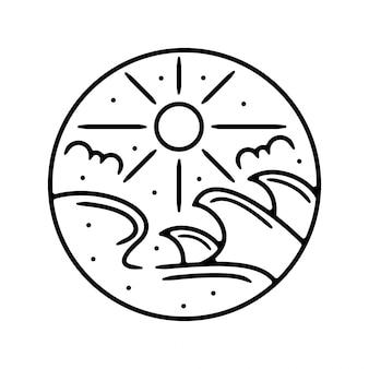 Ola monoline diseño de insignia al aire libre vintage