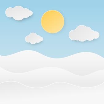 Ola oceánica con sol, nubes y cielo azul en papel cortado estilo. ilustración.