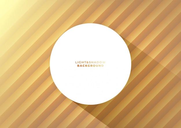 Ola de oro 3d pared y blanco redondo blanco con una larga sombra.