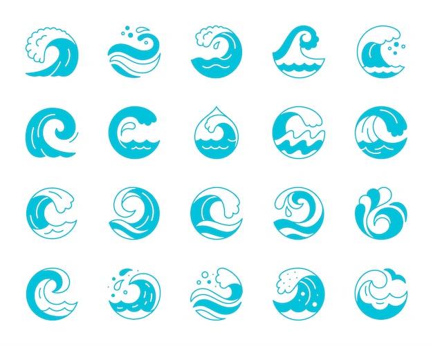 Ola, salpicaduras de agua, ola de surf, glifo, conjunto de iconos de silueta azul.