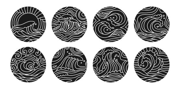 Olas del mar doodle conjunto de glifos negros de patrón redondo