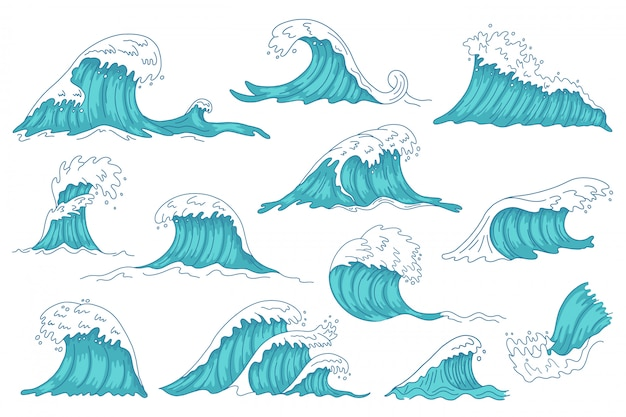 Las olas del mar. ola de agua dibujada a mano del océano, olas de tsunami de tormenta vintage, conjunto de iconos de ilustración de eje de agua marina furiosa. tormenta del océano de agua, colección de olas de salpicaduras