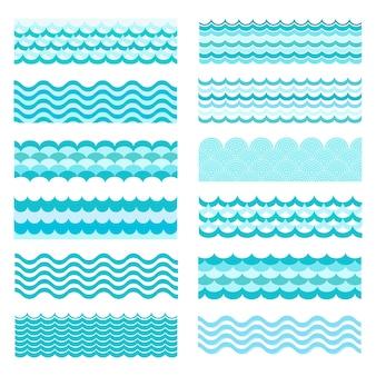 Olas marinas. mar ondulado, diseño de agua de arte oceánico