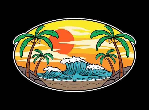 Olas de verano y puesta de sol playa ilustración