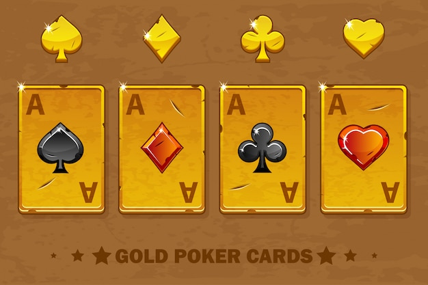 Old golden cuatro ace poker naipes.
