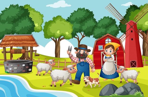 Old macdonald en una escena de rimas infantiles de granja