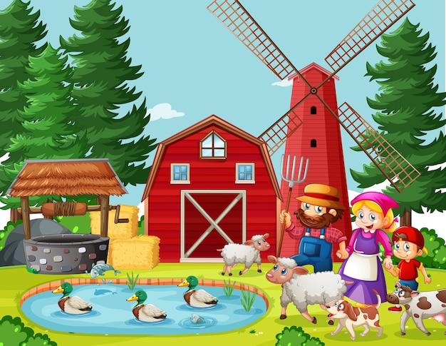 Old macdonald en la granja con escena de granero y molino de viento
