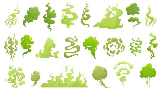 Oler humo. nube de mal olor, aroma apestoso verde y conjunto de ilustraciones de dibujos animados de humo apestoso.