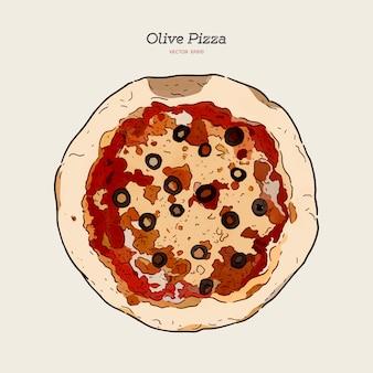 Olive pizza, dibujo a mano dibujo vectorial. vista superior