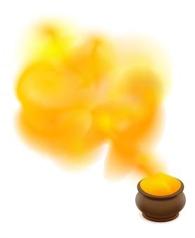 Olla de cerámica llena de arcilla con pintura amarilla para el festival holi