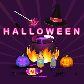 Olla mágica de la bruja de halloween