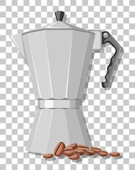 Olla de moka con granos de café aislado sobre fondo transparente