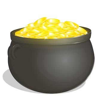 Olla con monedas de oro para el día de patrick en estilo de dibujos animados.