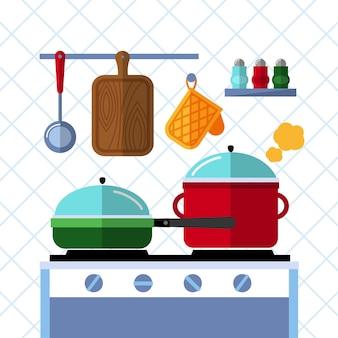 Ollas y sartenes en una estufa, fondo de concepto plano de cocina de cocina.