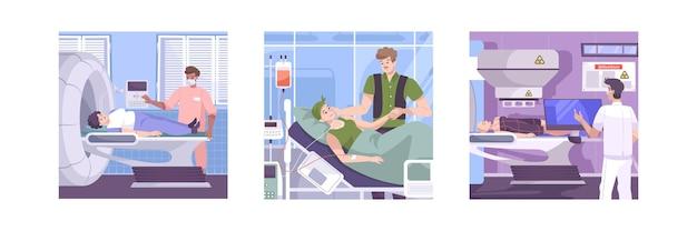 Oncología, resonancia magnética, prueba de diagnóstico, cáncer, paciente, radioterapia y tratamientos de quimioterapia, 3 composiciones planas, conjunto de ilustraciones